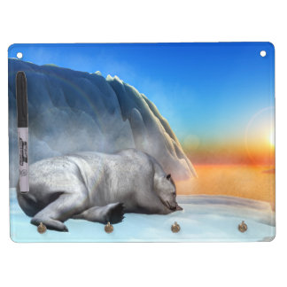 Polar bear - 3D render Dry Erase Board With Keychain Holder