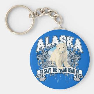 Polar Bear Alaska Basic Round Button Keychain
