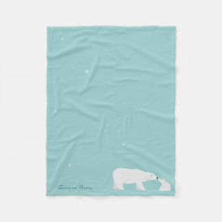 Polar Bear and Baby Cub Fleece Blanket