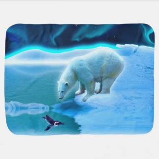 Polar Bear and Baby Penguin Friendship Art Swaddle Blanket