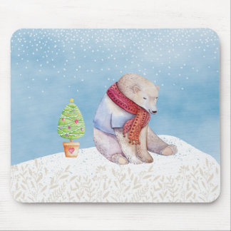 Polar Bear and Christmas Tree in the Snow Mouse Pad