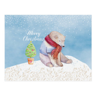 Polar Bear and Christmas Tree in the Snow Postcard