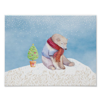 Polar Bear and Christmas Tree in the Snow Poster