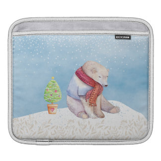 Polar Bear and Christmas Tree in the Snow Sleeve For iPads