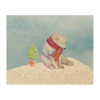 Polar Bear and Christmas Tree in the Snow Wood Print