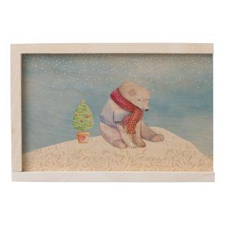 Polar Bear and Christmas Tree in the Snow Wooden Keepsake Box