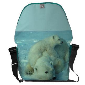 Polar Bear and Cub Large Messenger Bag