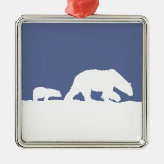 Polar Bear and Cub Metal Ornament