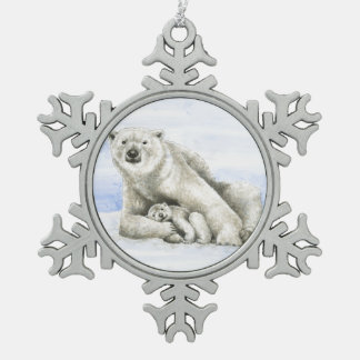 Polar Bear and Cub Snowflake Pewter Christmas Ornament