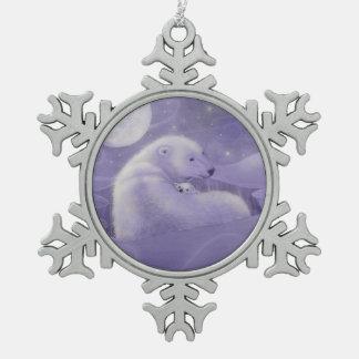 Polar Bear and Cub Whimsical Fantasy Art Snowflake Pewter Christmas Ornament