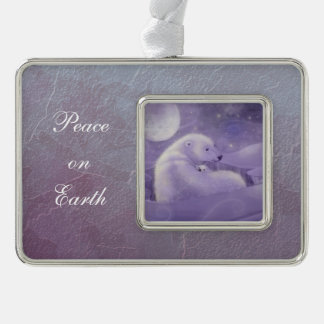 Polar Bear and Cub Wildlife Fantasy Illustration Silver Plated Framed Ornament