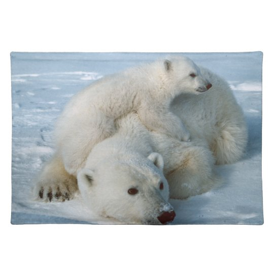 Polar Bear and Cub Wildlife Lovers Cloth Placemat