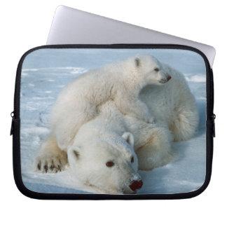 Polar Bear and Cub Wildlife Lovers Laptop Sleeve