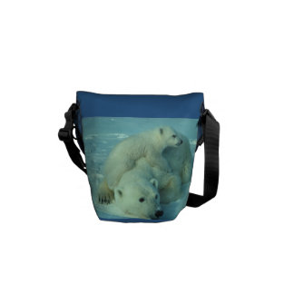 Polar Bear and Cubs Mini Messenger Bag