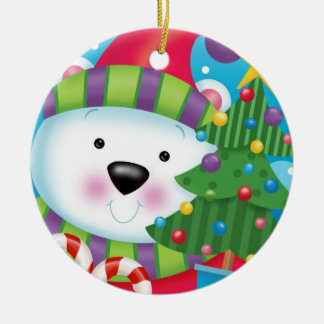 Polar Bear and His Christmas Tree Ceramic Ornament