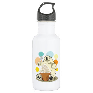 Polar bear and ice cream stainless steel water bottle