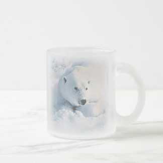 Polar Bear and Snow Frosted Glass Coffee Mug