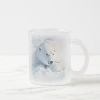 Polar Bear and Snow Frosted Glass Coffee Mug