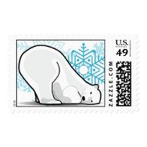 Polar Bear and Snowflakes Postage