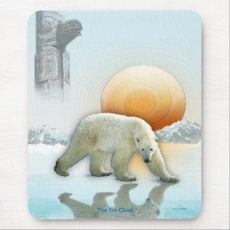 Polar Bear and Totem Pole Wildlife Art Mouse Pad