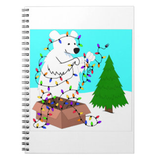 Polar Bear and Tree Lights Spiral Note Books