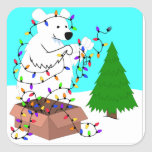 Polar Bear and Tree Lights Stickers