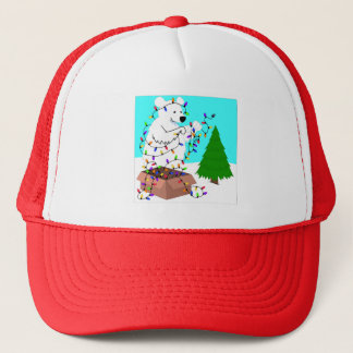 Polar Bear and Tree Lights Trucker Hat