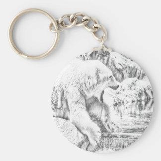 Polar bear and water keychain