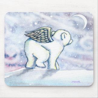 Polar Bear Angel Cub Mousepad by Molly Harrison