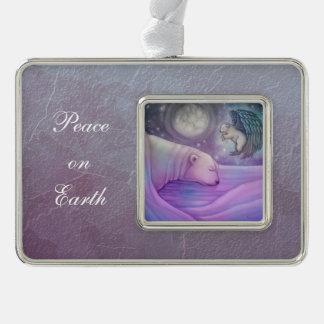 Polar Bear Angel Cub Wildlife Fantasy Illustration Silver Plated Framed Ornament