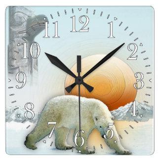 Polar Bear & Arctic Ice with Totem Pole Art Clock