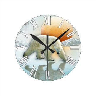 Polar Bear & Arctic Ice with Winter Sun Art Clock