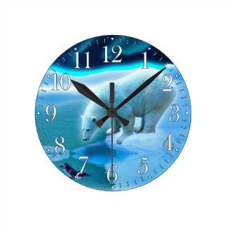 Polar Bear & Arctic Penguin Aurora Art Clock