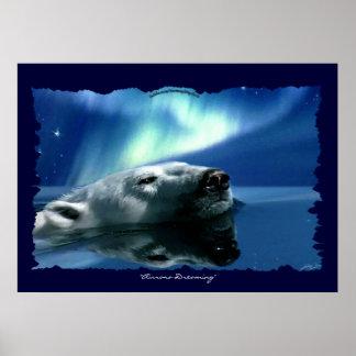 Polar Bear Arctic Wildlife Art Poster