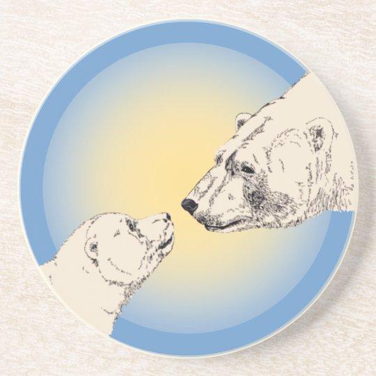Polar Bear Art Coasters Bear & Cub Coaster