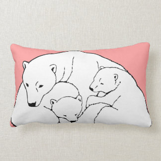 Polar Bear Art Pillow Mother w. Baby Bears Pillow
