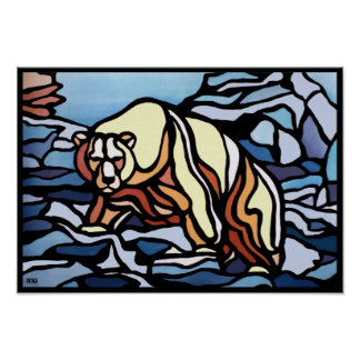 Polar Bear Art Poster Print First Nation Wildlife