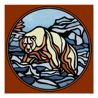 Polar Bear Art Print Tribal Wildlife Home Decor