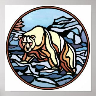 Polar Bear Art Print Tribal Wildlife Home Decor