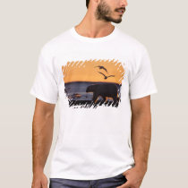 Polar bear at sunrise with glaucous-winged T-Shirt