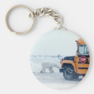 Polar Bear at the bus stop Basic Round Button Keychain
