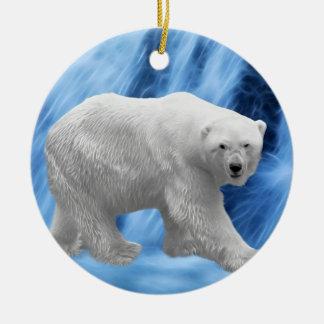 Polar Bear at the frozen waterfall christmas tree Ceramic Ornament
