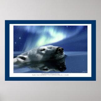 POLAR BEAR AURORA Art Poster
