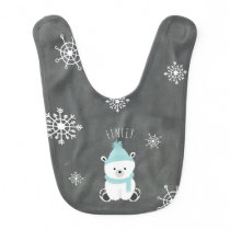 Polar Bear Baby Bib - Blue