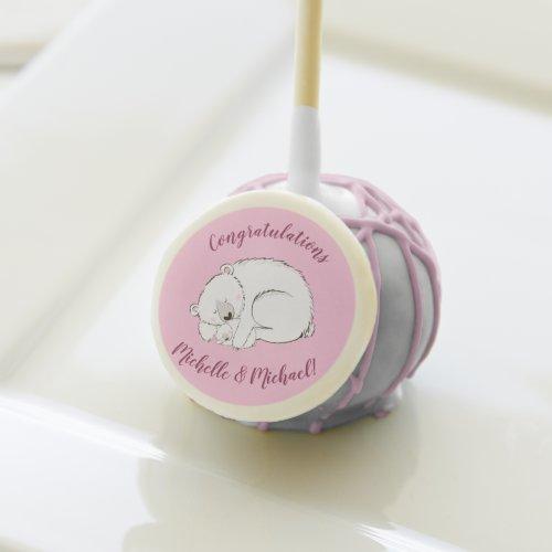 Polar Bear Baby Shower Pink Girl Cake Pops
