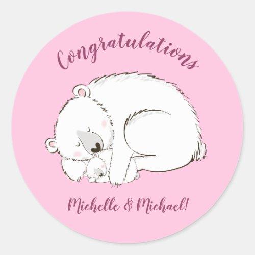 Polar Bear Baby Shower Pink Girl Classic Round Sticker