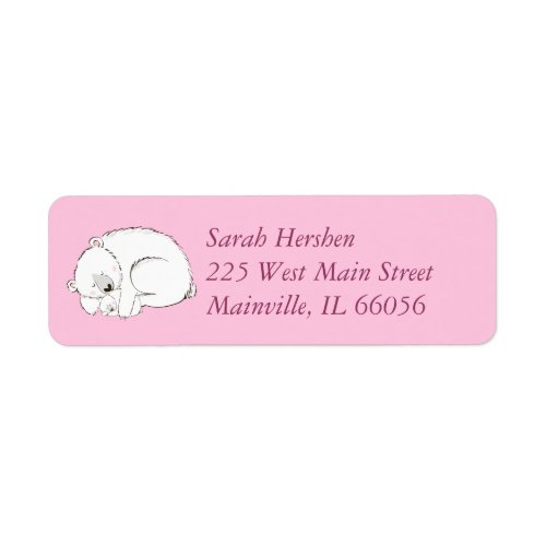 Polar Bear Baby Shower Pink Girl Label
