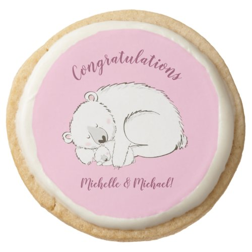Polar Bear Baby Shower Pink Girl Round Shortbread Cookie
