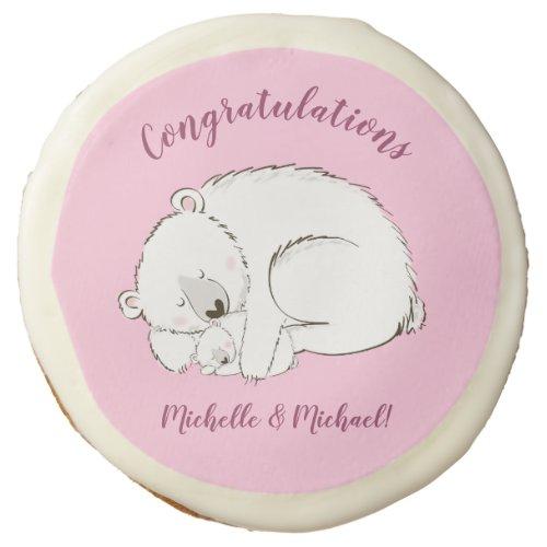 Polar Bear Baby Shower Pink Girl Sugar Cookie