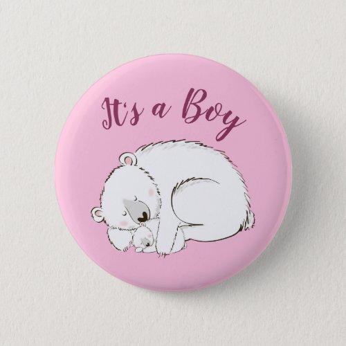 Polar Bear Baby Shower Pink Its a Boy Button